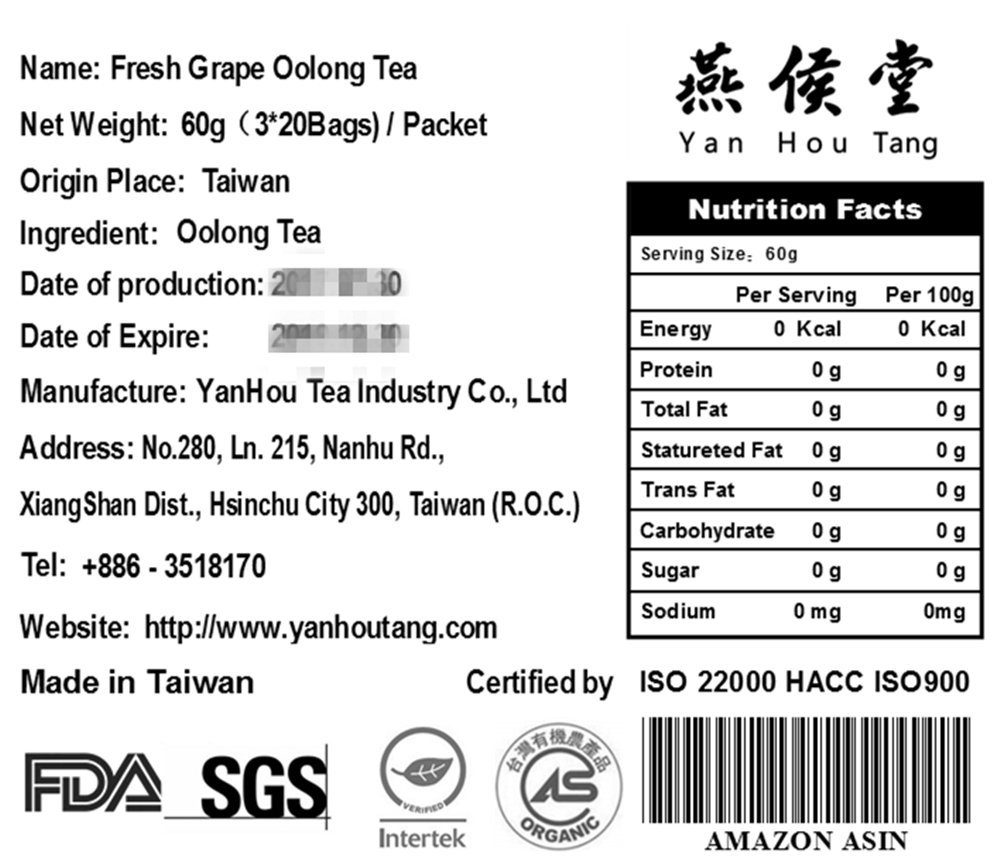Yan Hou Tang Organic Taiwan Fresh White Grape Oolong Tea Bags - 20 Counts Teabags Full Loose Leaf Mixed Flavored Fruits and Flowers Hot Ice Drinking Taste
