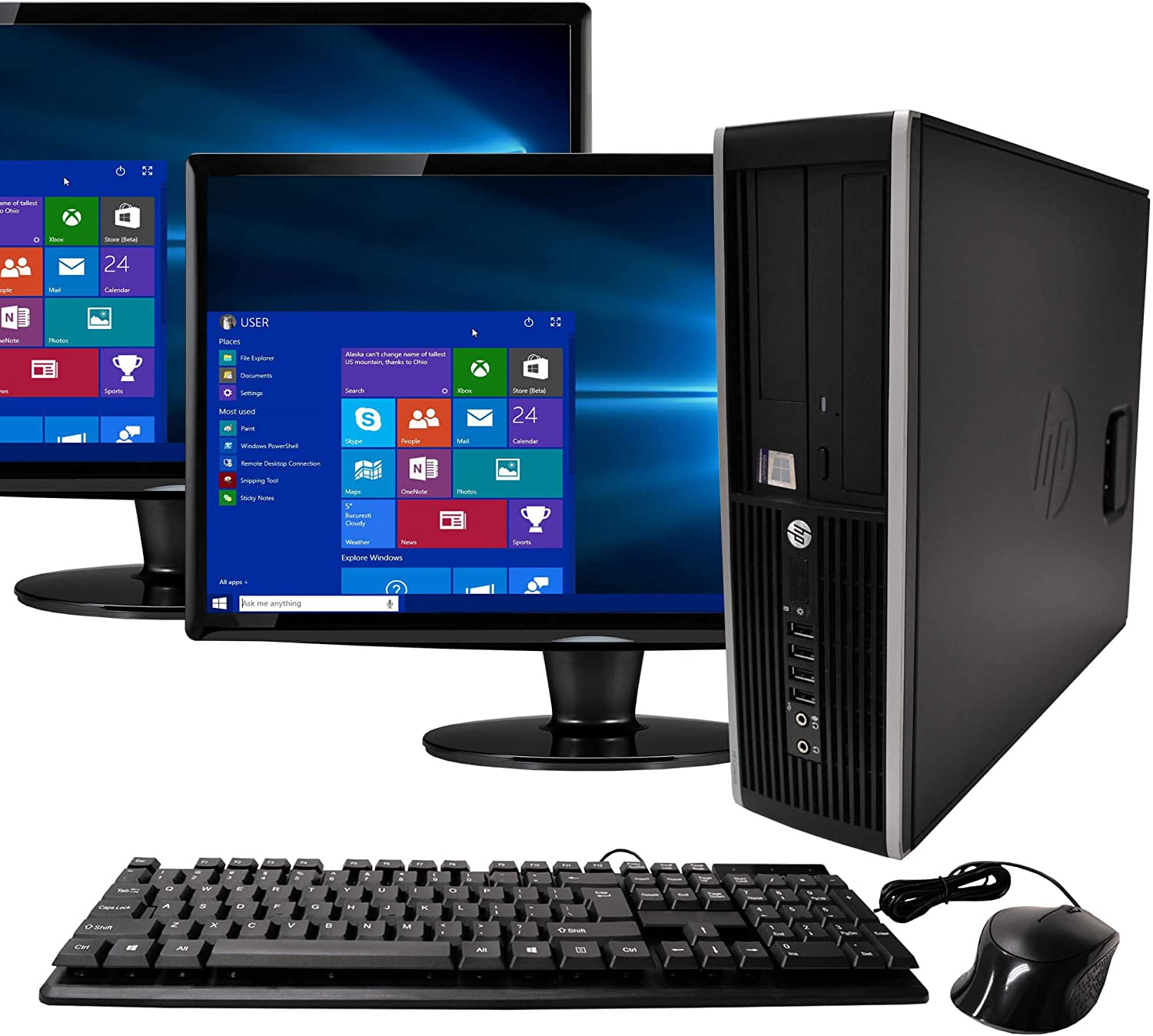 HP Elite Desktop Computer, Intel Core i5 3.1GHz, 8GB RAM, 1TB SATA HDD, Keyboard & Mouse, Wi-Fi, Dual 19in LCD Monitors (Brands Vary), DVD-ROM, Windows 10,(Renewed)