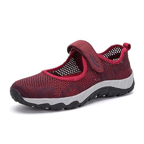 H-Mastery Zapatos Deportivo de Verano Zapatillas para Mujer con Velcro Cómodos Malla Transpirable Ligero