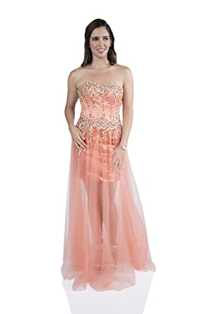 cc47b39ec3e0 MILANO FORMALS Strapless Long Beaded Evening Dress with Overlay   Amazon.co.uk  Clothing