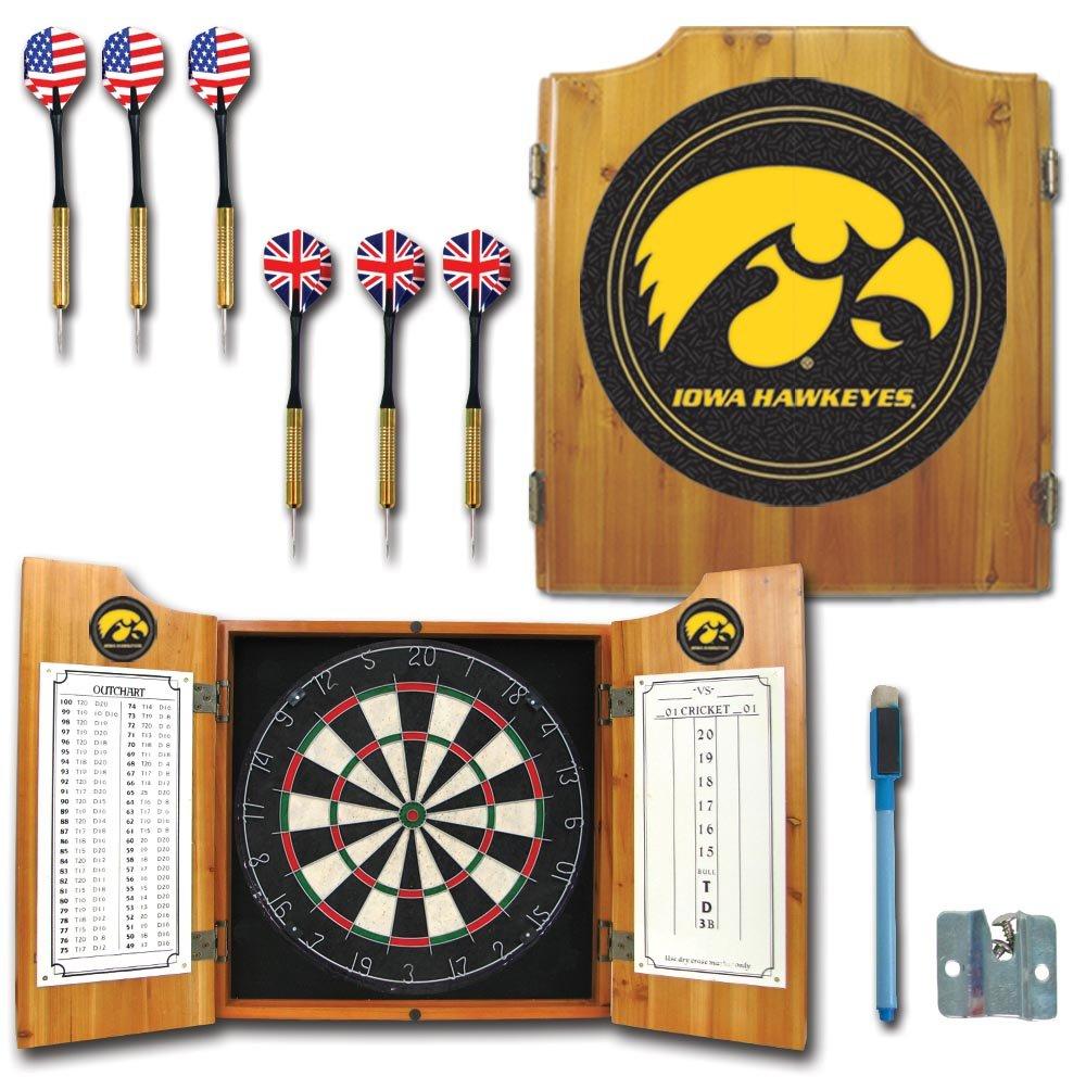 NCAA University of Iowa Wood Dart Cabinet Set