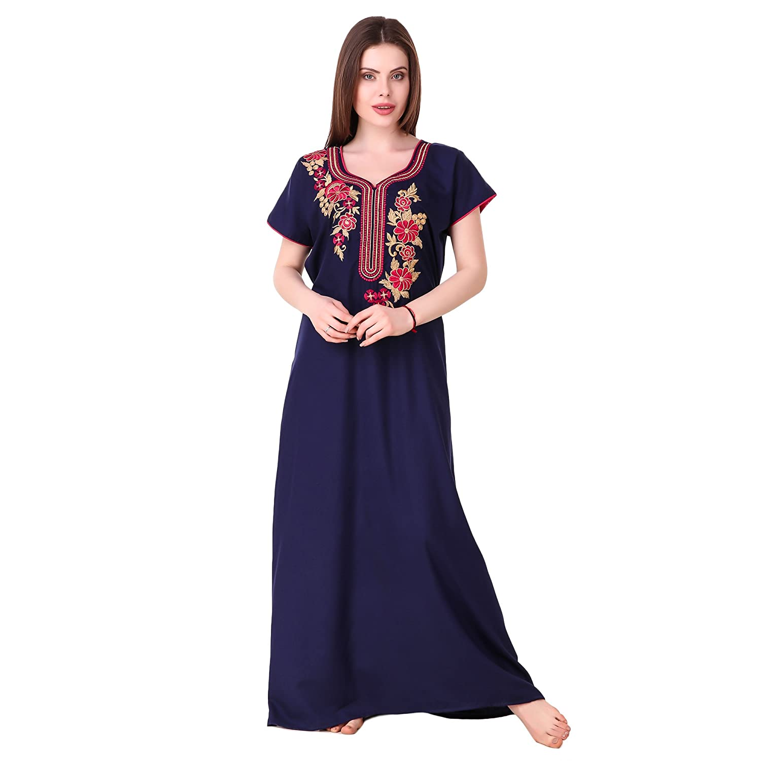 d6c613b6c MILIT Best Cotton Long Embroidered Nighty for Women s(Bust Size Upto 44  inches) Blue  Amazon.in  Clothing   Accessories