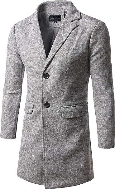 Da Uomo Slim Fit lungo Parka stand collare casual Blazer Trench Suit