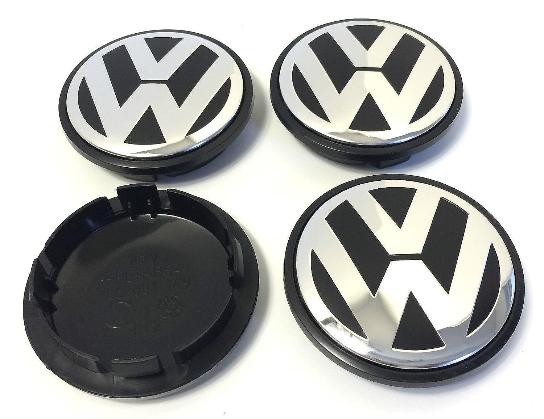 4 x Volkswagen 77 mm negro cromo logotipo insignia emblema rueda centro tapacubos tapas 7l6601149 VW Bora Amarok Caddy California CC Fox Gol G5 puntero Golf ...
