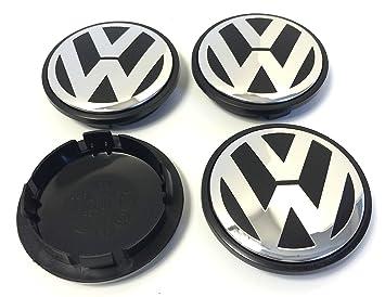 4 x Volkswagen 77 mm negro cromo logotipo insignia emblema rueda centro tapacubos tapas 7l6601149 VW ...
