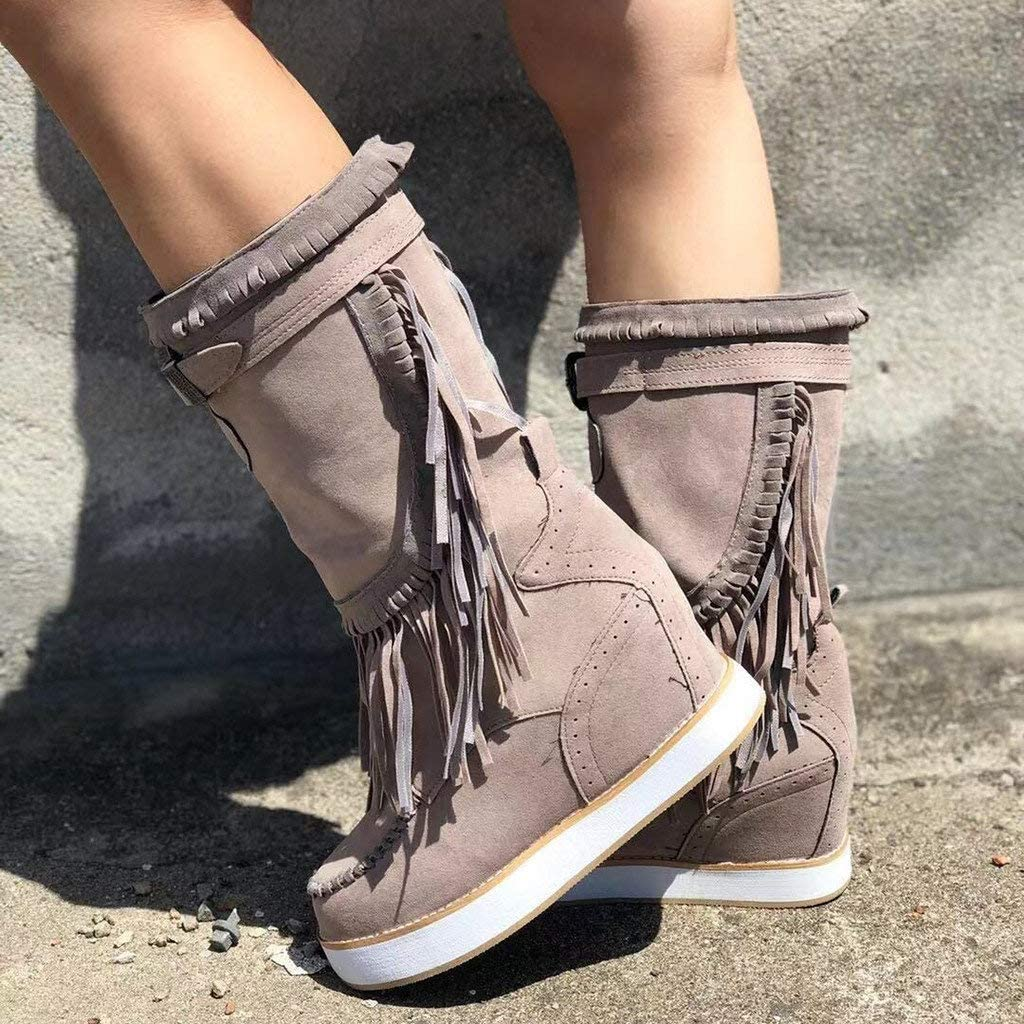 Womens Fashion Casual Round Toe Rome Retro Fringe Short Ankle Boots Flat Shoes Boots