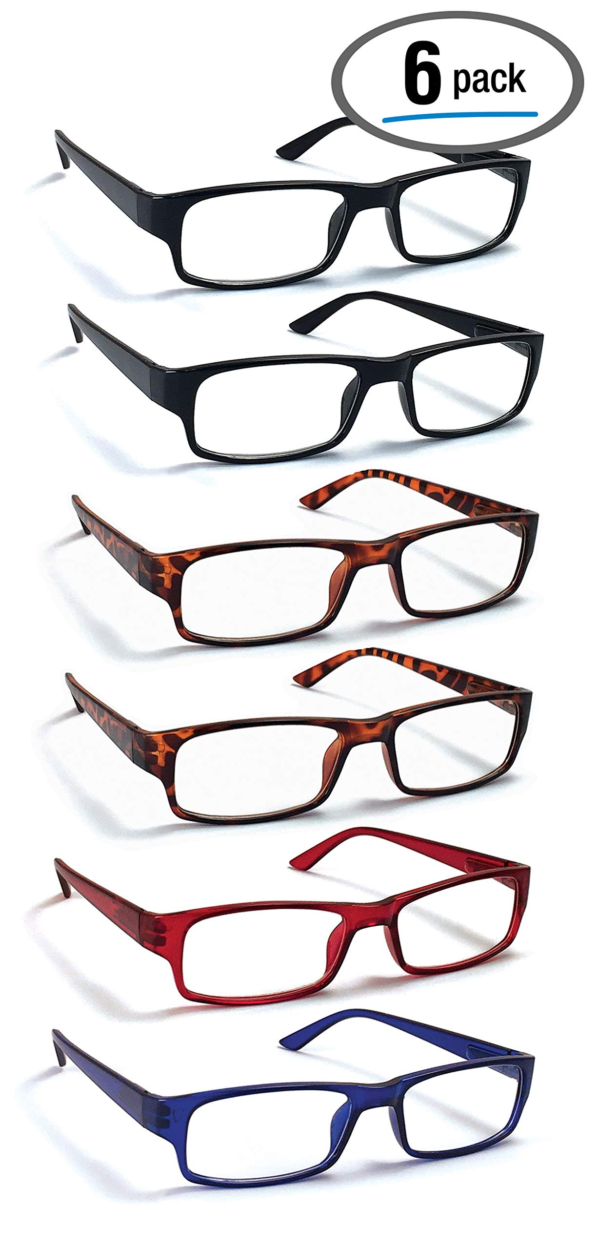 6 Pack Reading Glasses by BOOST EYEWEAR, Traditional Frames in Black, Tortoise Shell, Blue and Red, for Men and Women, with Comfort Spring Loaded Hinges, Assorted Colors, 6 Pairs (+1.00) by Boost Eyewear