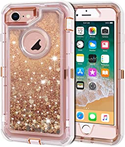 Anuck iPhone 8 Case, iPhone 7 Case, 3 in 1 Hybrid Heavy Duty Defender Case Sparkly Floating Liquid Glitter Protective Hard Shell Shockproof TPU Cover for Apple iPhone 7/ iPhone 8 4.7 inch - Rose Gold