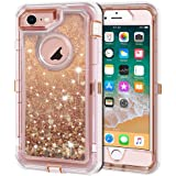 Anuck iPhone 8 Case, iPhone 7 Case, 3 in 1 Hybrid Heavy Duty Defender Case Sparkly Floating Liquid Glitter Protective…