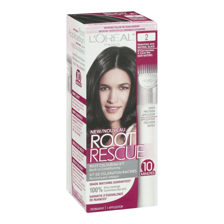 Amazon.com: L\'Oréal Paris Root Rescue Hair Color, 2 Natural Black ...