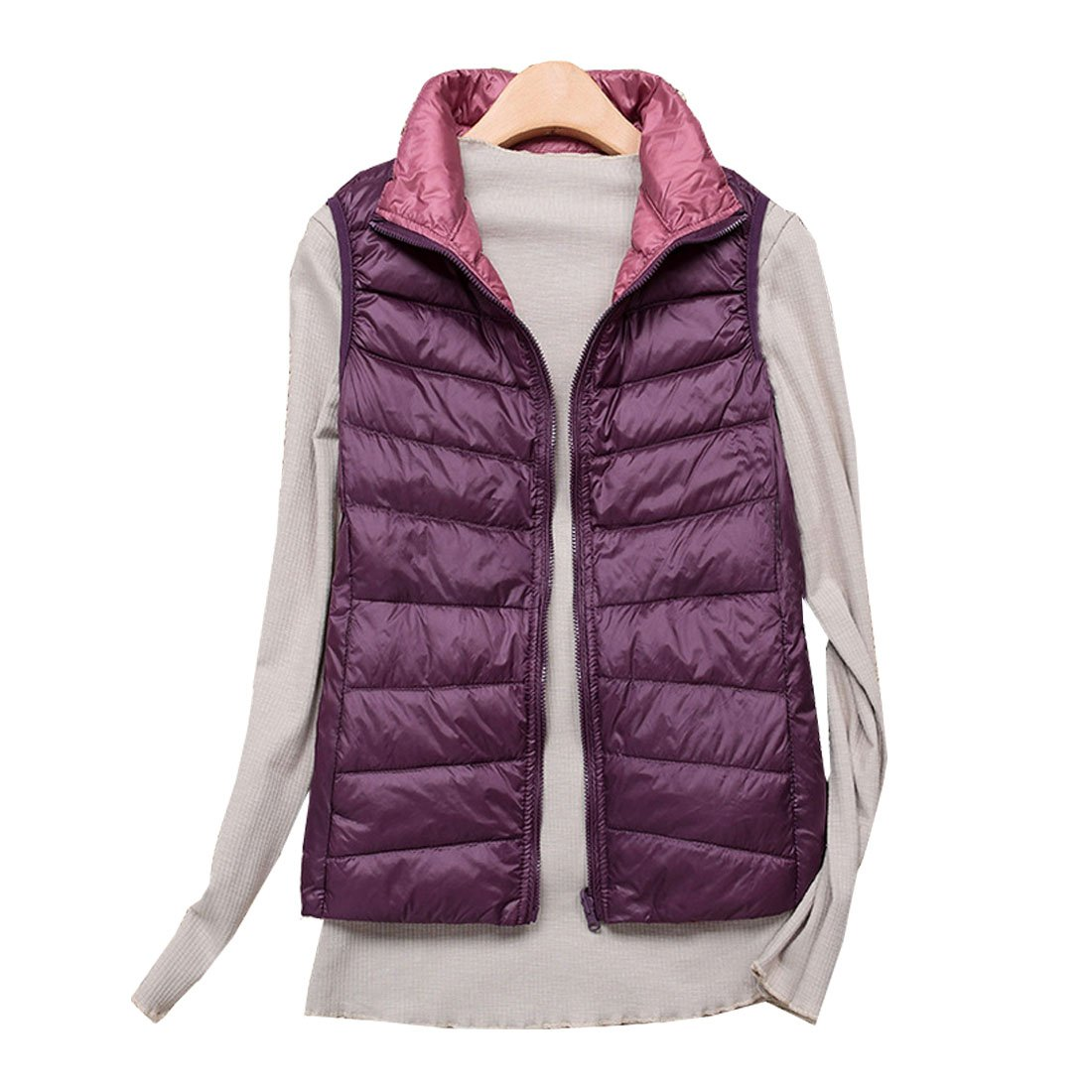 Hzcx Fashion Women's Ultra Lightweight Packable Quilted Reversable Down Vest