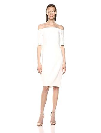 5fe37a80bd7e Calvin Klein Women's Solid Off The Shoulder Sheath Dress at Amazon ...