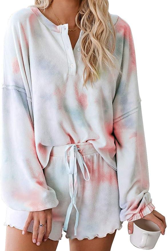 AMONIDA Pajamas Set Long Sleeve Sleepwear Womens Soft 2-Piece Lounge Sets S-2XL