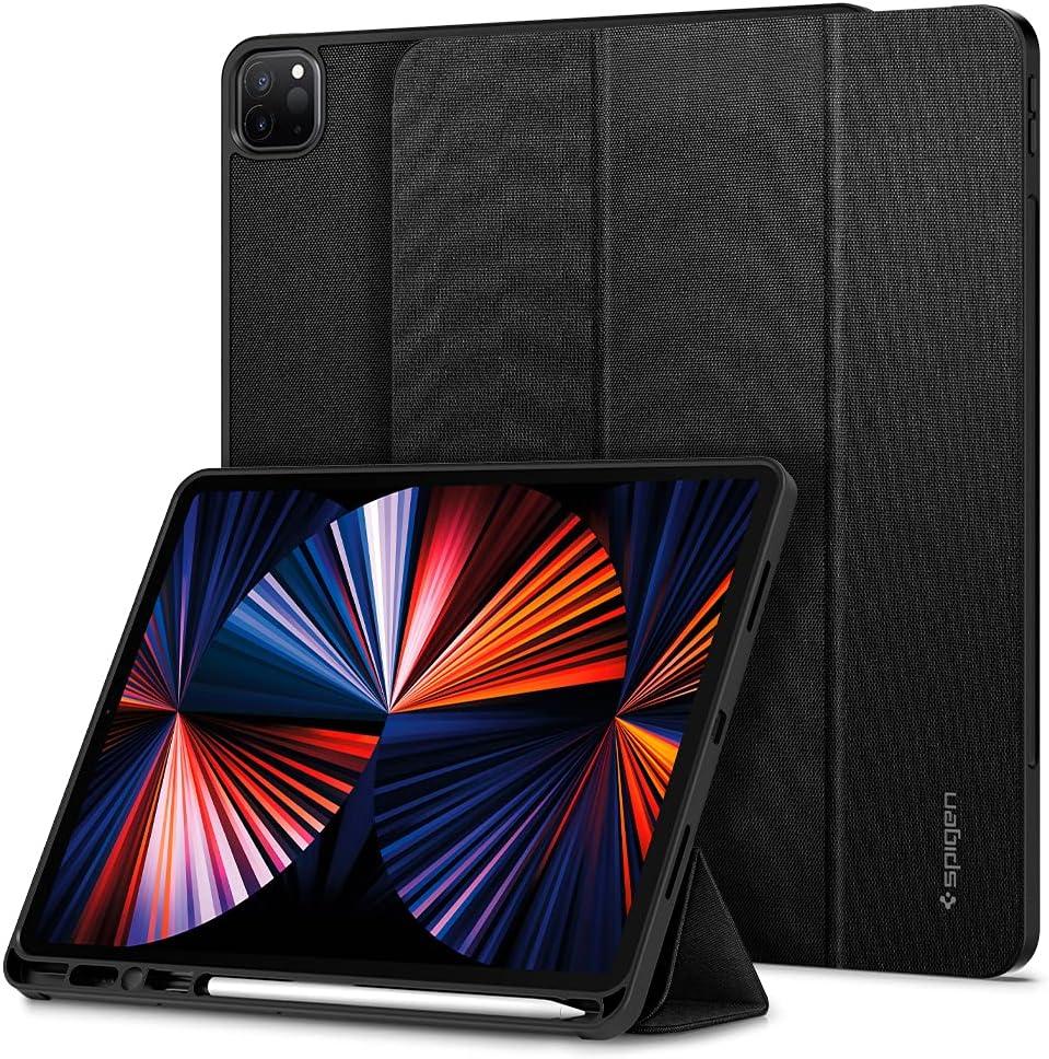 Spigen Urban Fit Designed for iPad Pro 12.9 inch Case 2021 5th Generation with Pencil Holder - Black