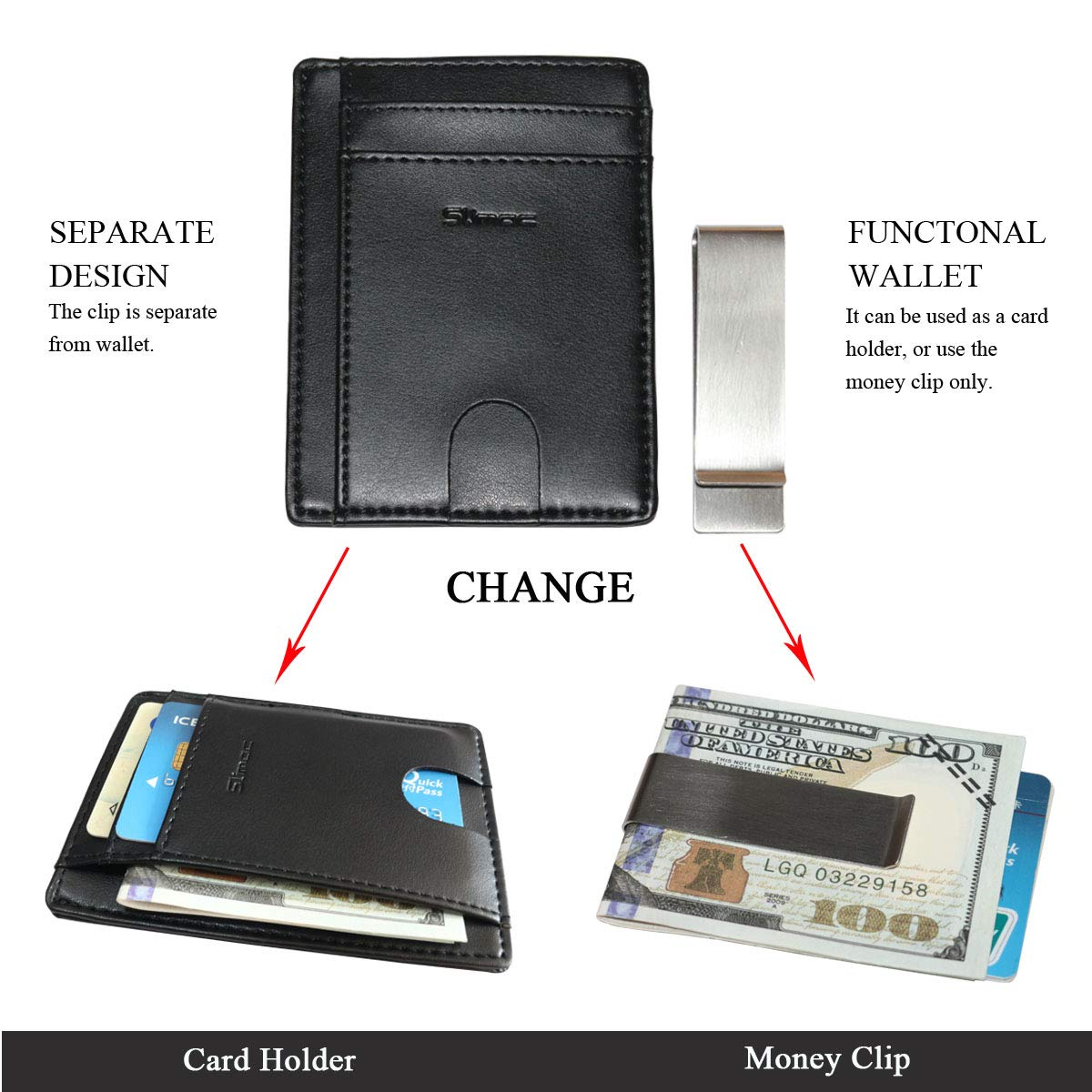 Money Clip Wallet for Men RFID Blocking Genuine Leather Minimalist Card Holder
