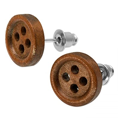 1 par Botón Soul-Cats® botón Pendientes madera joyas marrón color de madera natural: castaño claro: Amazon.es: Joyería