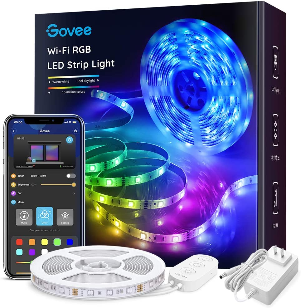 Govee Smart WiFi LED Strip Lights Works with Alexa, Google Home Brighter 5050 LED, 16 Million Colors Phone App Controlled Music Light Strip for Home, Kitchen, TV, Party, for iOS and Android, 16.4ft: Home Improvement
