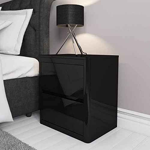 Modern Pair Of Lamp Table Bedside End Side Tables Solid: Lucia Black Gloss Bedside Table (CHLK12-C88)
