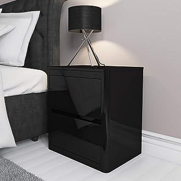 9168c6484b Lexi Black High Gloss 2 Drawer Bedside Table: Amazon.co.uk: Kitchen ...