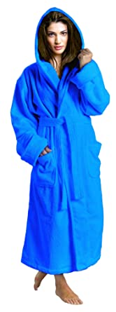 SKYLINEWEARS Women s 100% Terry Cotton Bathrobe Toweling Hooded Robe Blue S 6a0ed774a