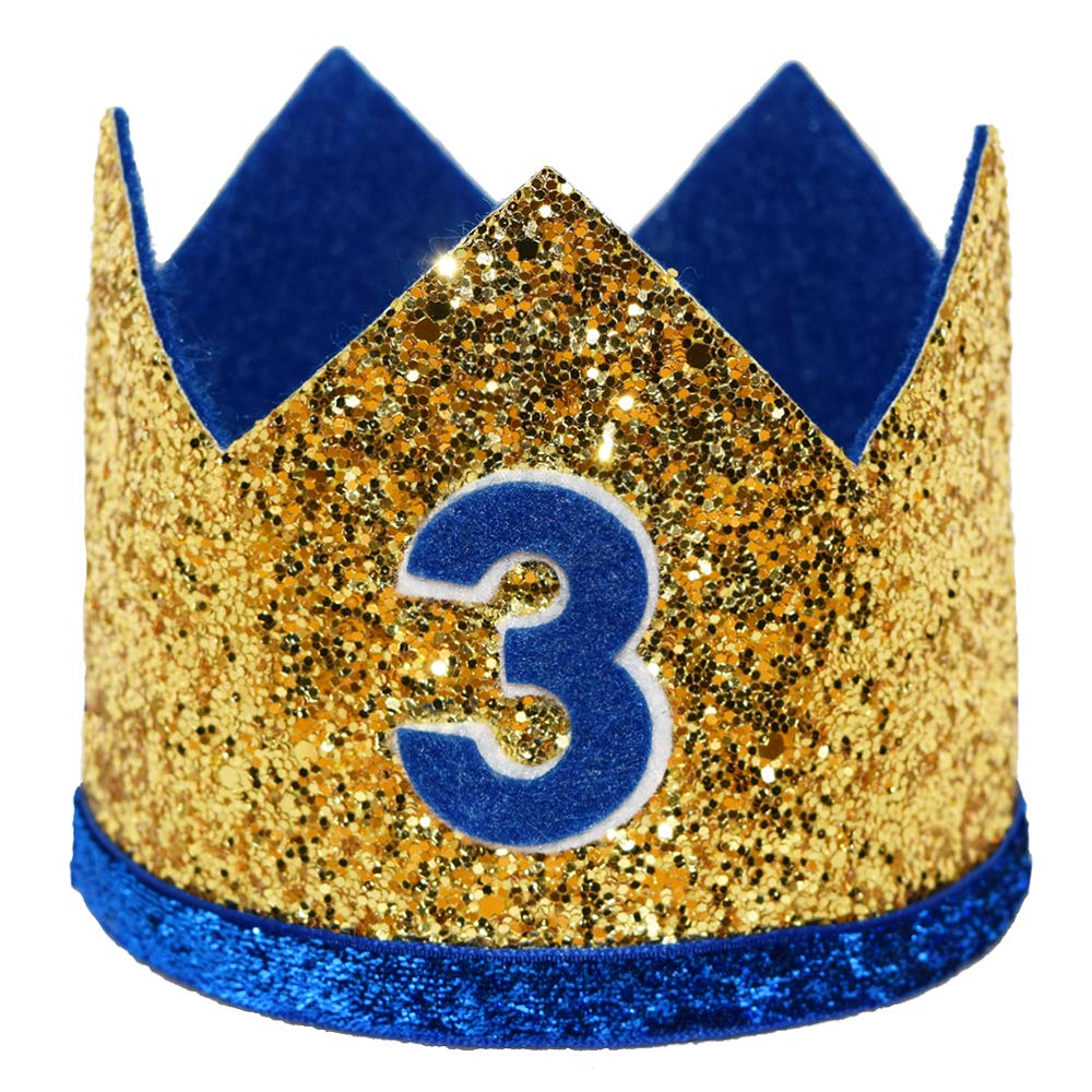 maticr Shiny Tiny 2 nd Birthday Crown Baby Boy Princeヘッドバンドパーティー用品  Large Gold Royal 3 B07QMVZLFT