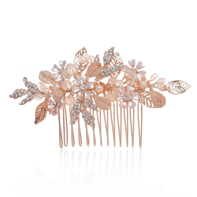 SWEETV Rose Gold Wedding Hair Comb Bridal Headpiece Side Comb Jewelry SVKAFS18010C1007