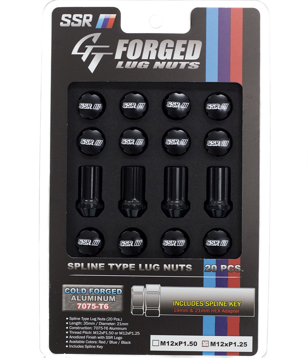 SSR Wheels GT-Forged Lug Nuts M12x1.25 Black (20 Piece Set w/ Socket) 1SB2CC214BL