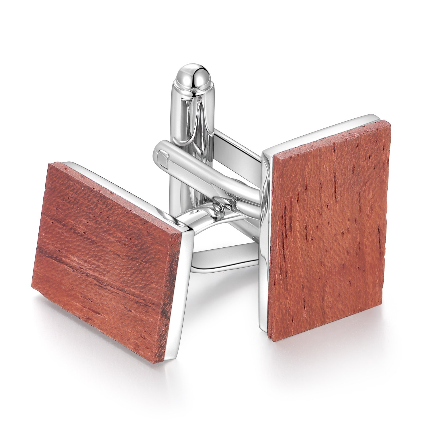 Anfly Smart Bubinga Wood Cufflinks Men's Natural Wooden Cuff Links Wedding Business