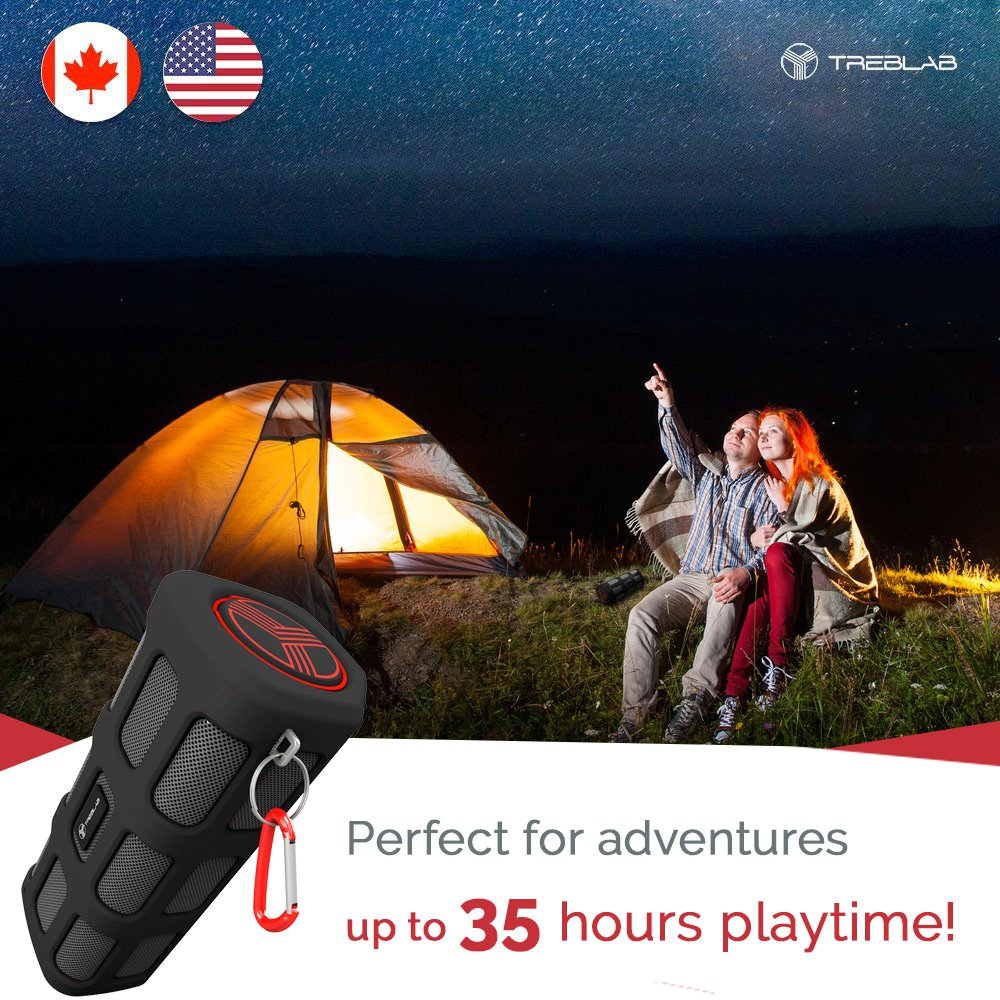 TREBLAB FX100 - Extreme Bluetooth Speaker - Loud, Rugged for Outdoors, Shockproof, Waterproof IPX4, Built-In 7000mAh Power Bank, HD Audio w/ Deep Bass, Portable Wireless Blue Tooth Microphone Mic by Treblab (Image #4)
