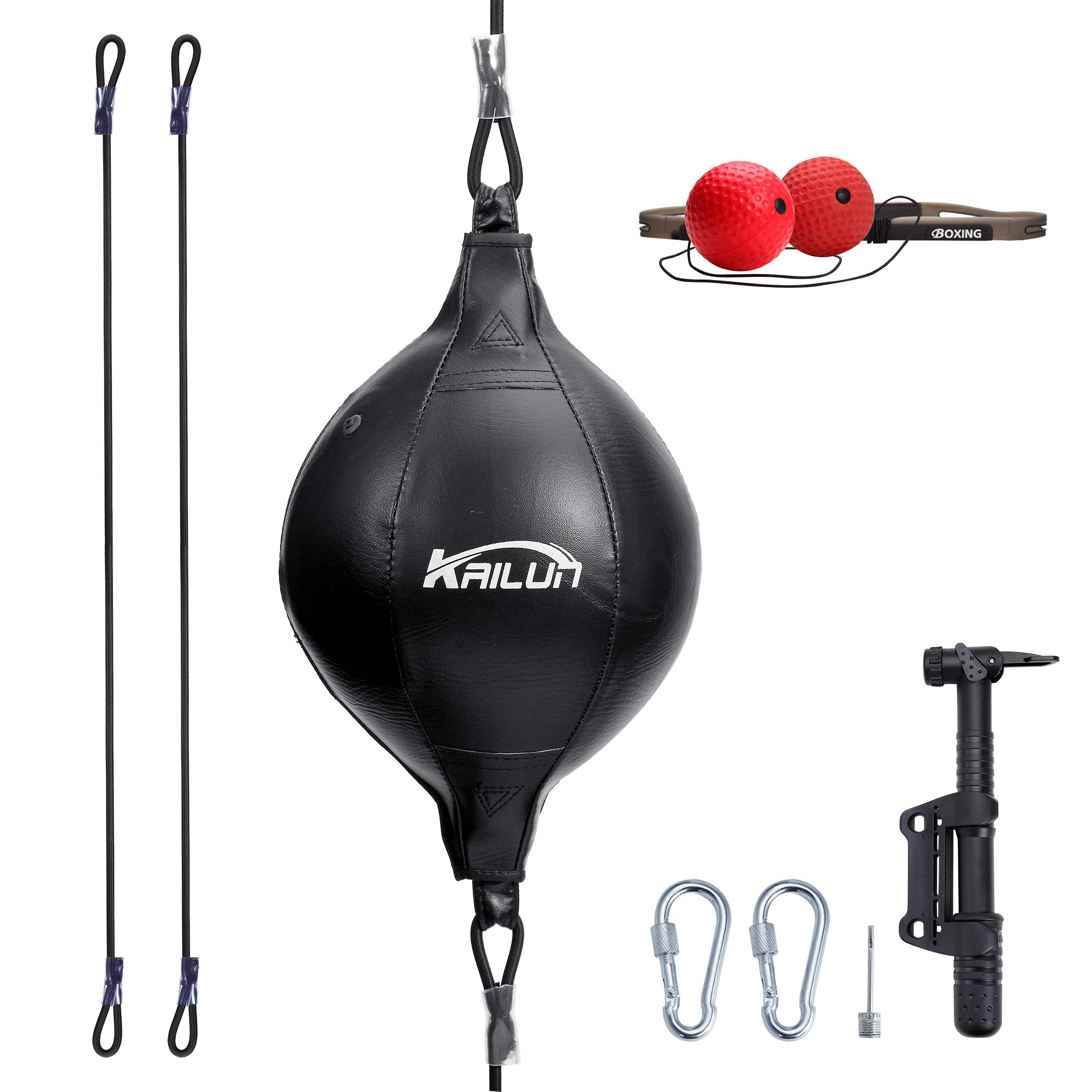 """JBM Speed Bag with Free Air Pump 9"""" X 6"""" Leather Boxing Speed Ball Punching Bag"""