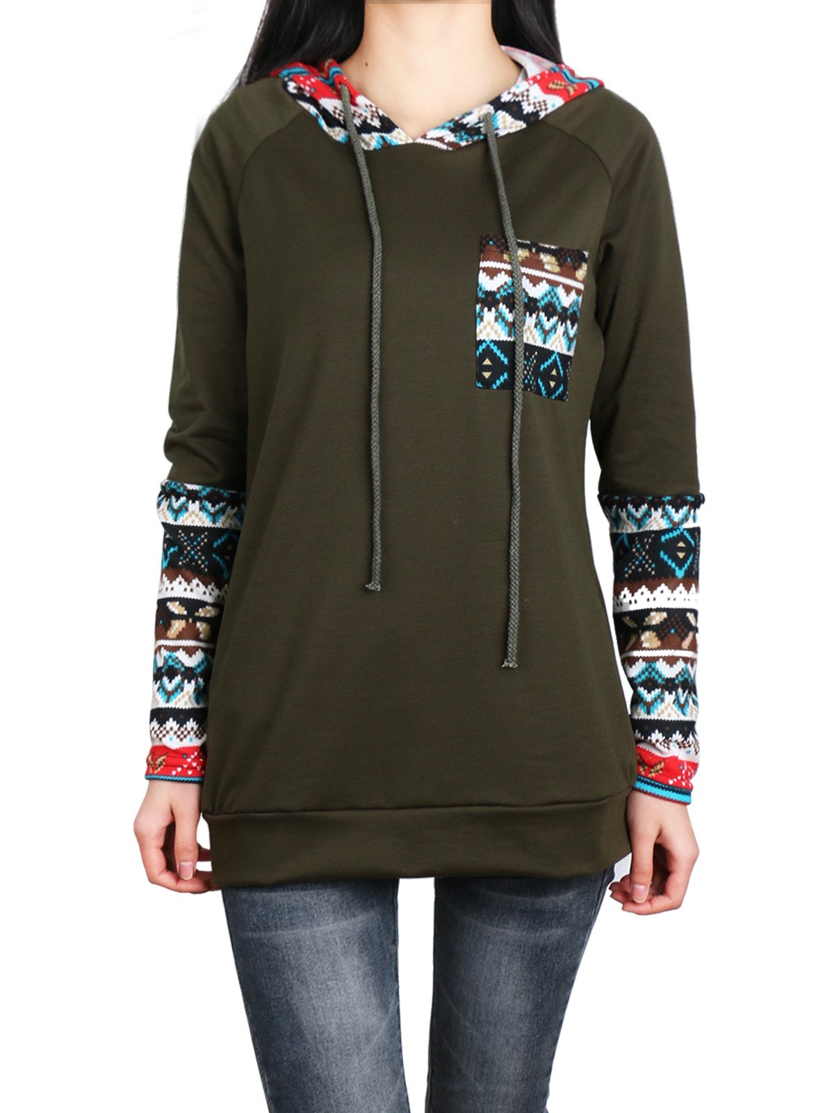Anna Smith Womens Hoodie,Active Long Sleeve Christmas Sweatshirt with Pocket Round Collar Adjustable Drawstring Tie Geometric Print Banded Bottom Comfy Spandex Polyester Baggy Tunic XXL Army Green.