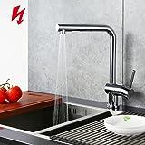Homelody 360° drehbar Küchenarmatur Niederdruck ausziehbar Wasserhahn Küche zwei Funktionen Mischbatterie mit Brause Spültischarmatur Einhebelmischer Spülbecken Chrom