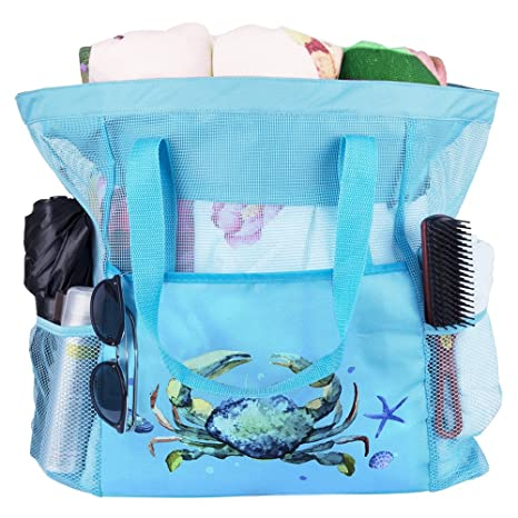 df99ffbc5ba0 Extra large Mesh Beach Tote Bag with Pockets and Zipper Foldable Oversized  Carry Picnic Bag