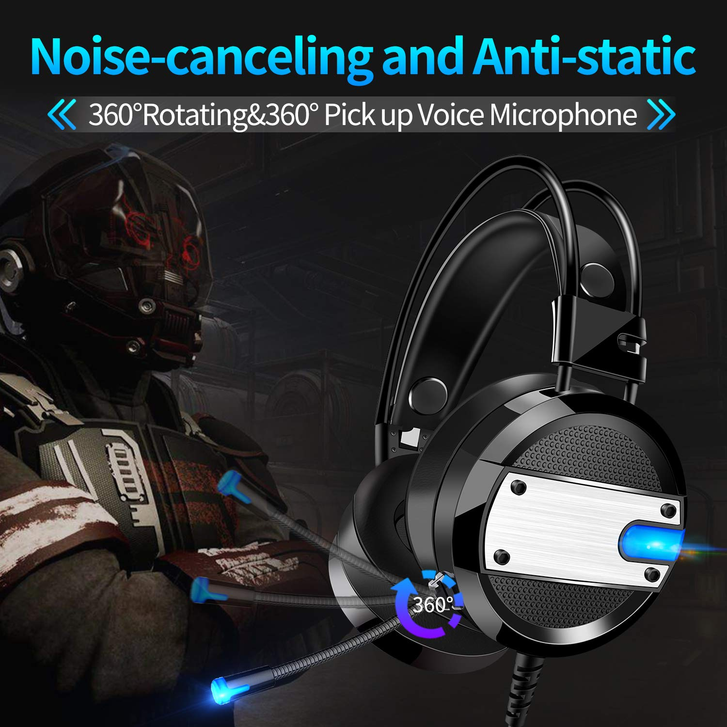 GYORGKSHI Over–Ear Headphone, LED Light Headphones Wired Headsets with Adjustable Microphone,3.5mm Adapter Gaming Headset for Xbox One, S, PS4, PC