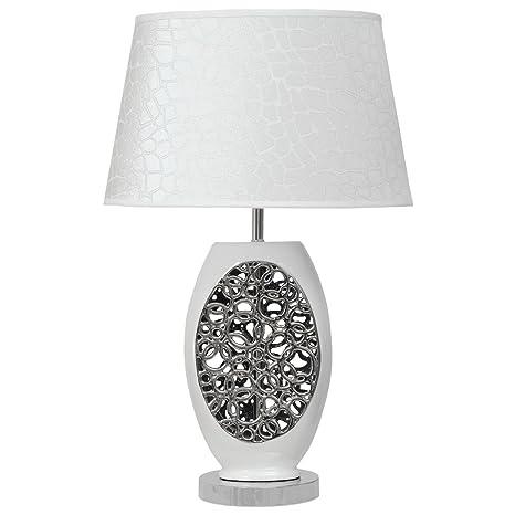Lámpara de mesa y mesilla de noche, de metal y cerámica ...