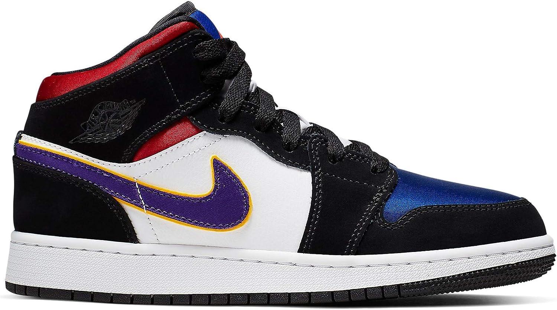 Amazon Com Jordan Nike Air 1 Mid Se Gs Kids Black Royal Blue Red