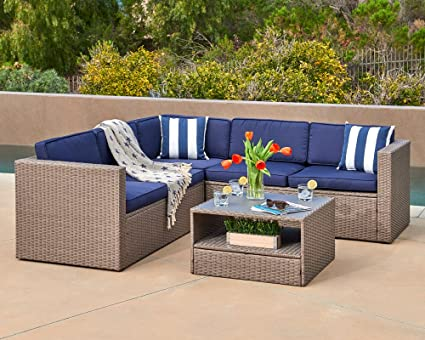 Suncrown Patio Sectional Set 4 Piece Gray Wicker Outdoor Sofa Furniture  With Rattan Couch,