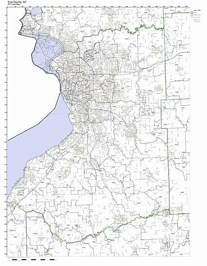 Amazon Com Erie County New York Ny Zip Code Map Not Laminated
