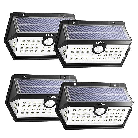 LITOM Solar Lights Outdoor, 40 LEDs, IP67 Waterproof, 3 Working Modes Wide Angle Motion Sensor Light for Front Door, Yard, Garage, Deck, Porch, Shed, Walkway 4 Pack