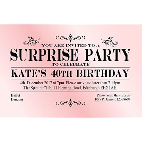 Surprise birthday invitation amazon 40 surprise birthday invitations personalised for any age 21st 30th 40th 50th 60th 70th 80th stopboris Image collections