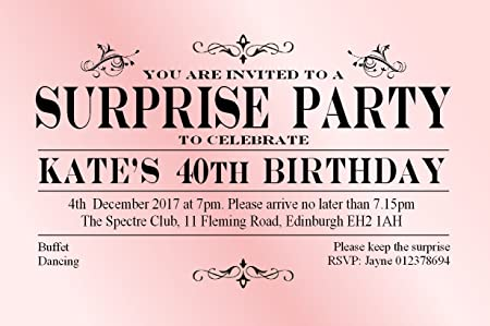 40 Surprise Birthday Invitations Personalised For Any Age 21st
