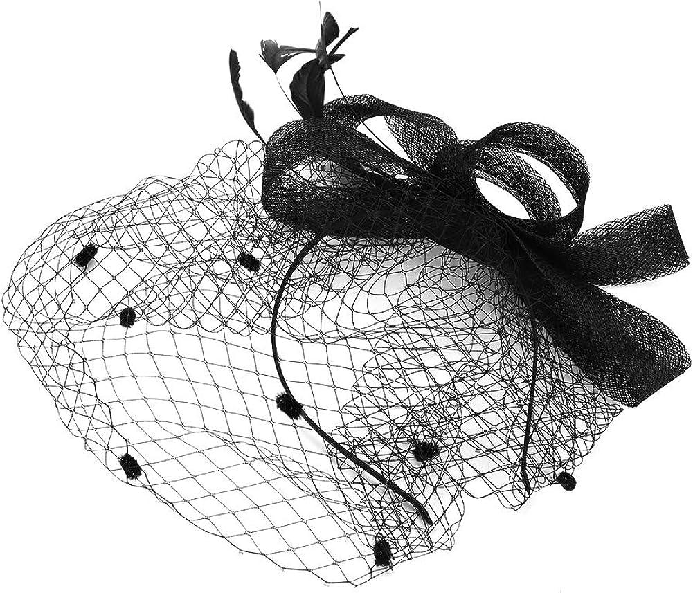 IBLUELOVER Peluquería Mujer Sombrero Boda Novia Fascinator Elegante Diadema Fascinante Nupcial Voilette Malla Diadema para cóctel Boda Derby Gran Gala Ceremonia Fotógrafo Fiesta Fiesta Disfraces