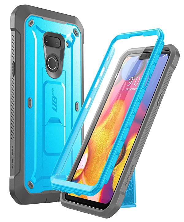 SUPCASE Unicorn Beetle Pro Series Designed for LG G8 Case & LG G8 ThinQ Case(2019 Release) Full-Body Rugged Holster Case with Built-in Screen Protector (Blue) (Color: Blue)