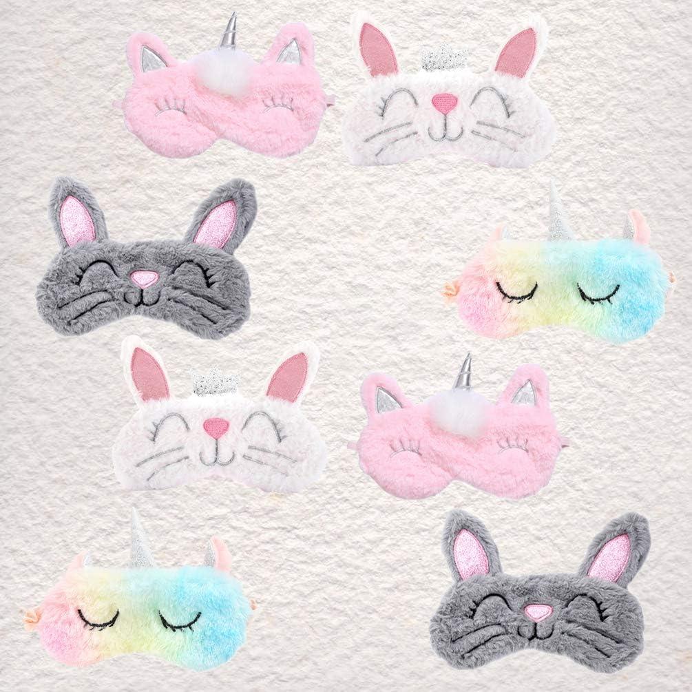 Minkissy 8pcs sommeil masque pour les yeux des animaux masque de sommeil doux en peluche avec les yeux band/és eyehade lapin licorne oeil couvre masque pour les yeux des filles femmes enfants faveur