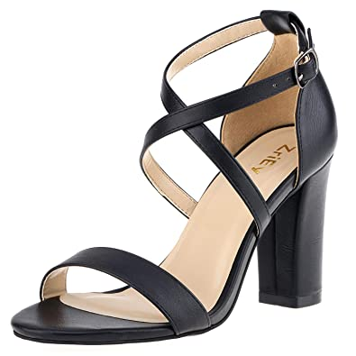 0b664f98df ZriEy Women's Chunky Block High Heels Across Strappy Sandals Fashion Sexy  Heeled Sandals