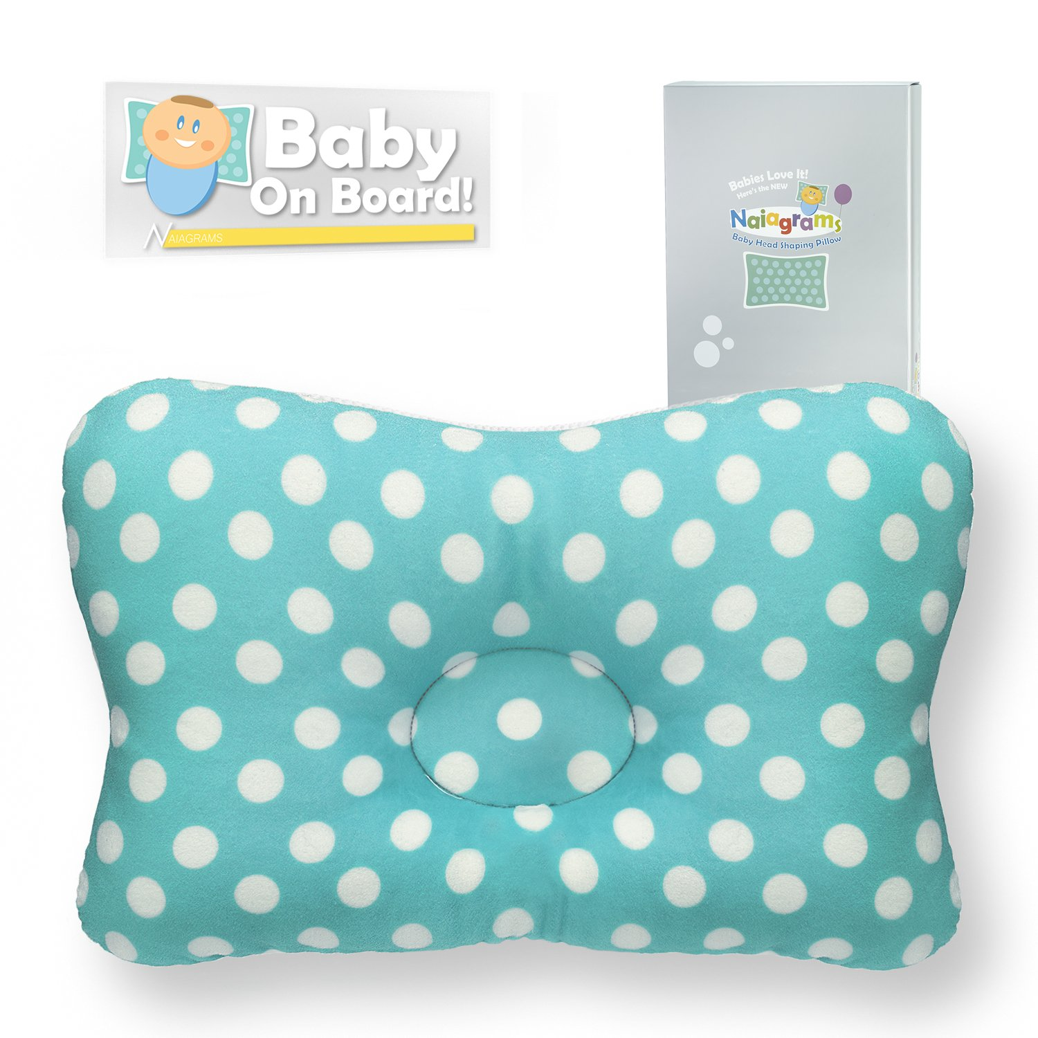 Baby Head Shaping Pillow - Breathable 3D Air Mesh Infant Pillow Filled with Hypoallergenic Organic Cotton - Newborn Flat Head Prevention and Correction Pillows The Naiagrams