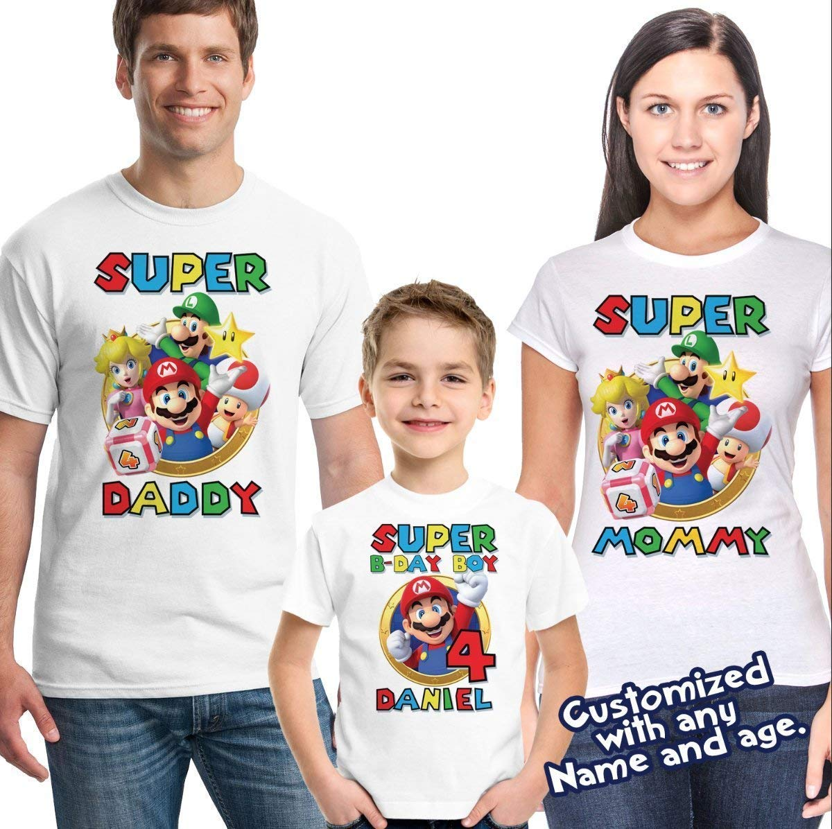 Amazon Super Mario Shirt Custom Birthday Personalized Name And Age T Handmade