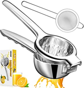 VEHHE Lemon Squeezer, Super Large Capacity Citrus Juicer 304 Stainless Steel Metal Lemon Juicer, 3.54 Inch Juicer Hand Press with Filter for Extracting Lemon Limes Vegetables