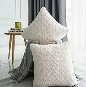 Valea Home Faux Fur Throw Pillow Covers for Couch Decorative Plush Swirl Luxury Super Soft Throw Pillow Case Set 18 x 18, Pack of 2, Ivory White