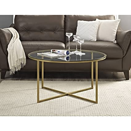 Bon Modern 36 Inch Round Coffee Table With Metal Frame And X Gold Base    Includes Modhaus